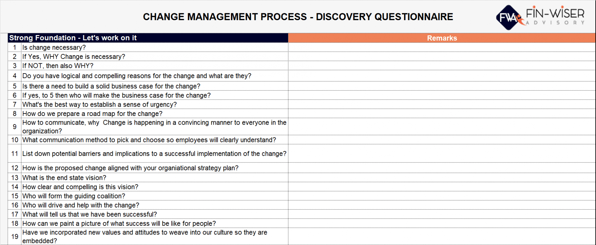 change management process discovery questionnaire 1