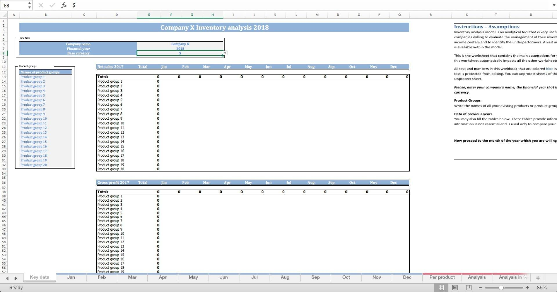 Inventory Analysis Excel Template - Templarket -  Business Templates Marketplace