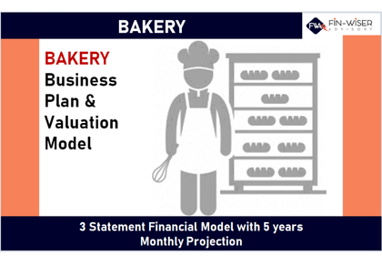 bakery 3 statement financial model with 5 years monthly projection and valuation 10