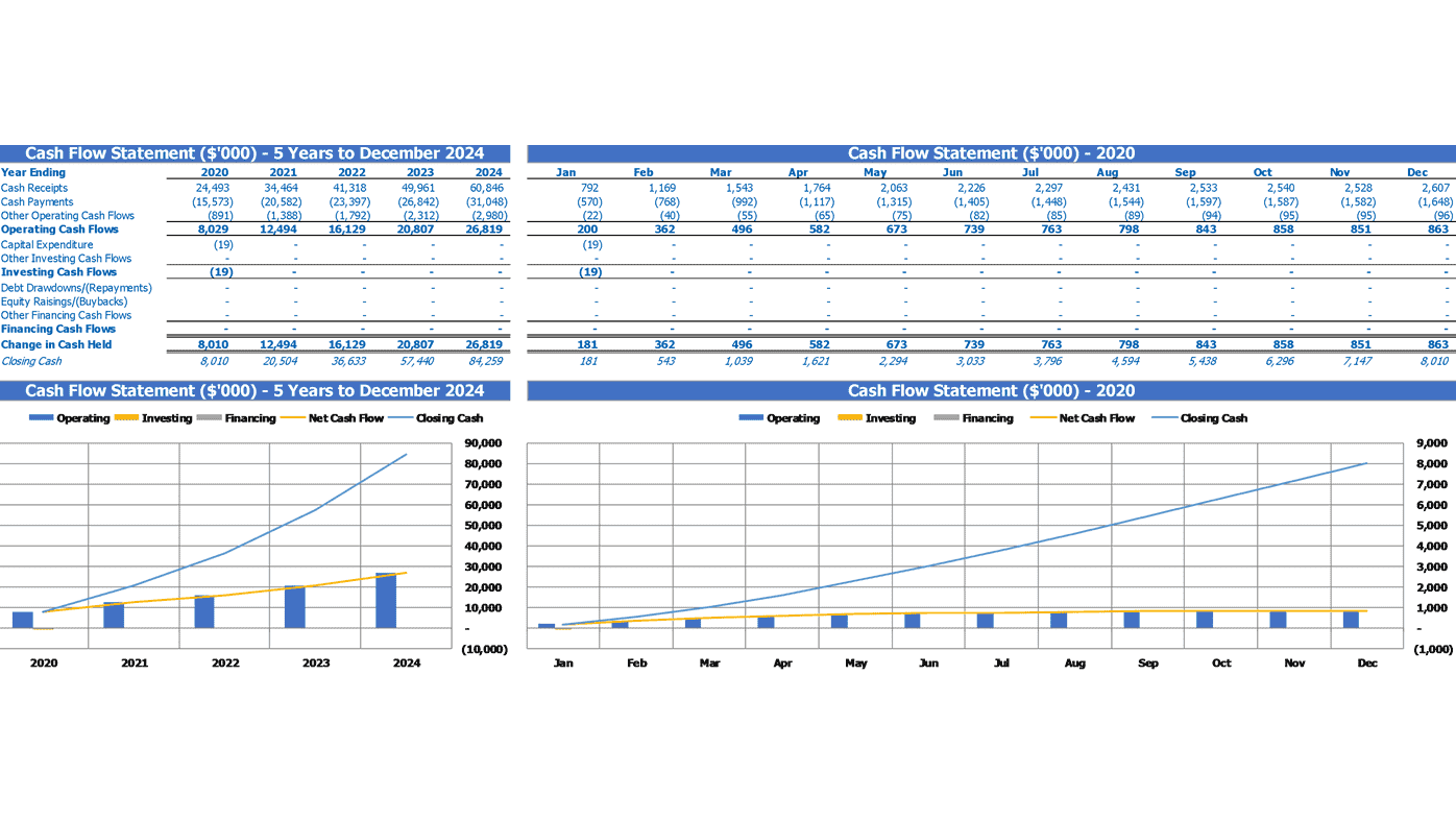 Tailor Startup Valuation Excel Template Financial Summary Cash Flow Statement