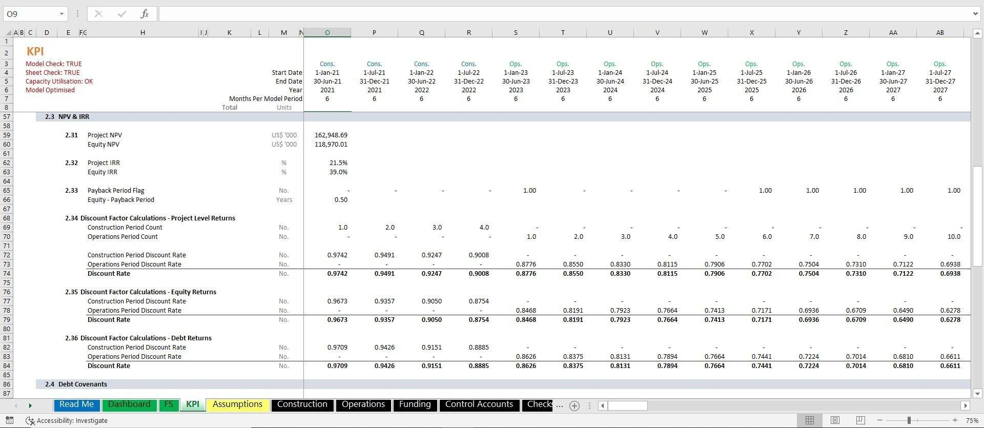 project finance toll road build and operate excel model with 3 statements and valuation 7