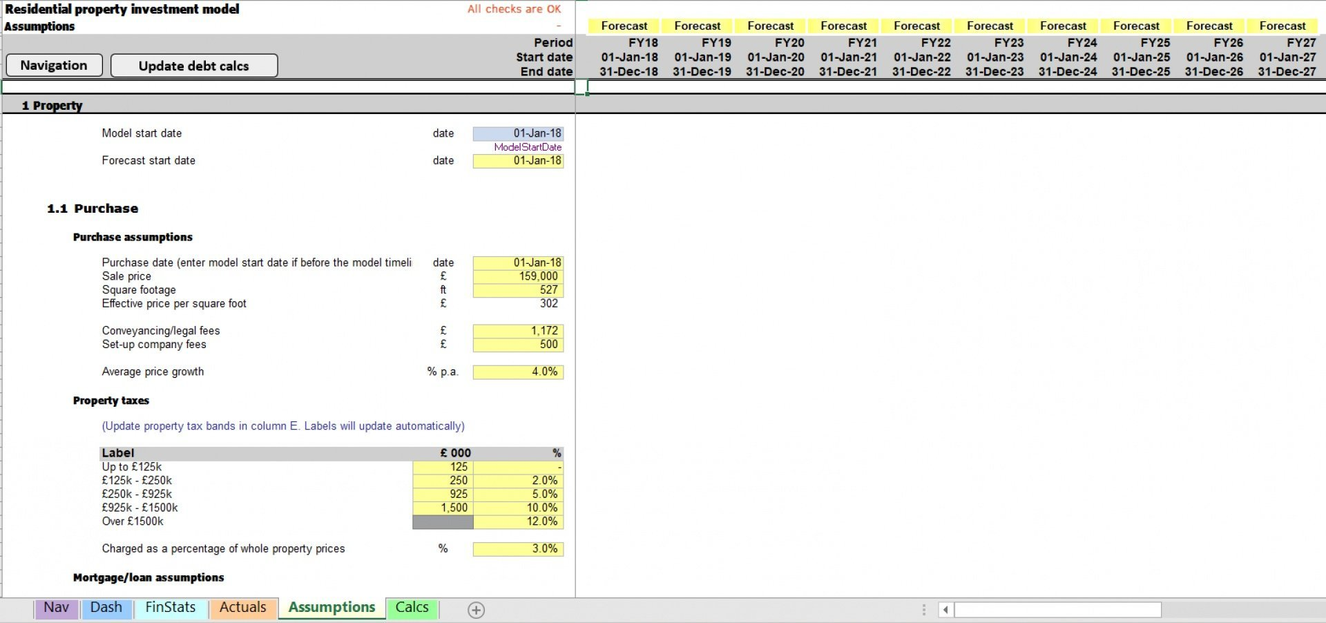 residential property excel model with scenarios 5