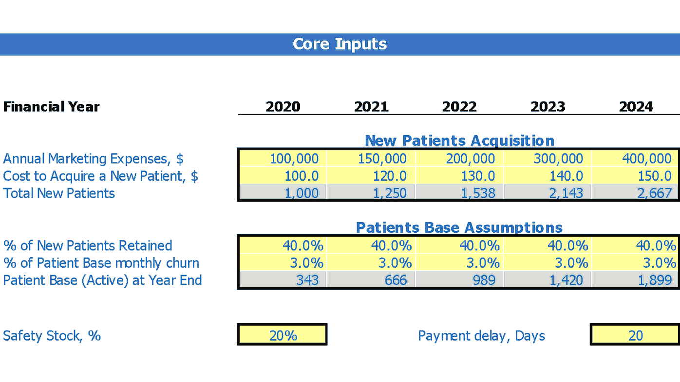Drug Treatment Center Business Model Excel Template Dashboard Core Inputs