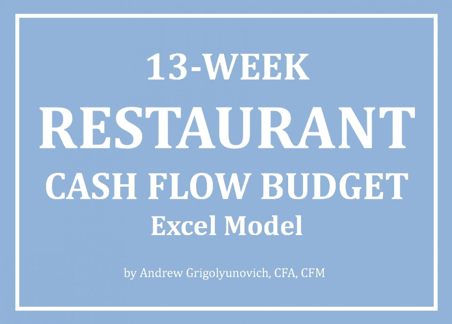 13-Week Restaurant Cash Flow Budget Excel Model - Templarket -  Business Templates Marketplace