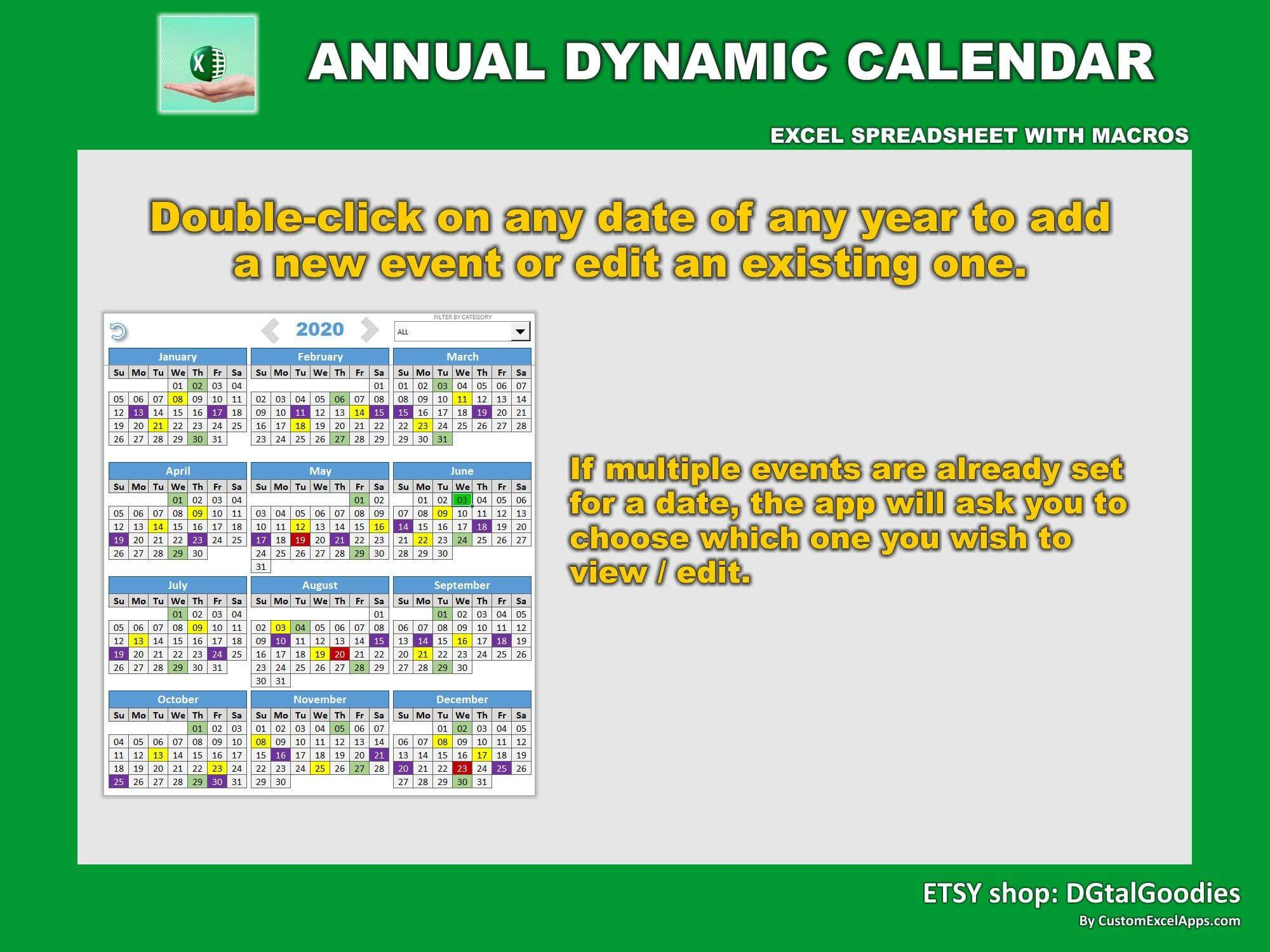 annual dynamic planner in excel very 3