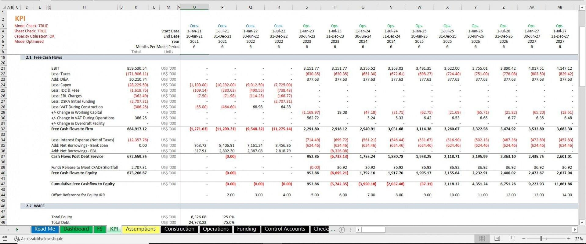 project finance toll road build and operate excel model with 3 statements and valuation 6