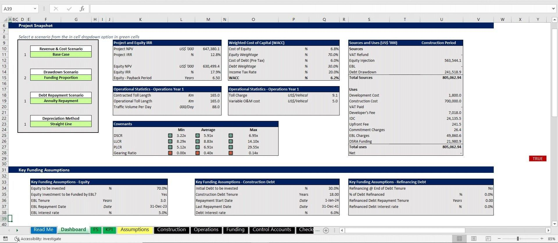 project finance toll road build and operate excel model with 3 statements and valuation 16