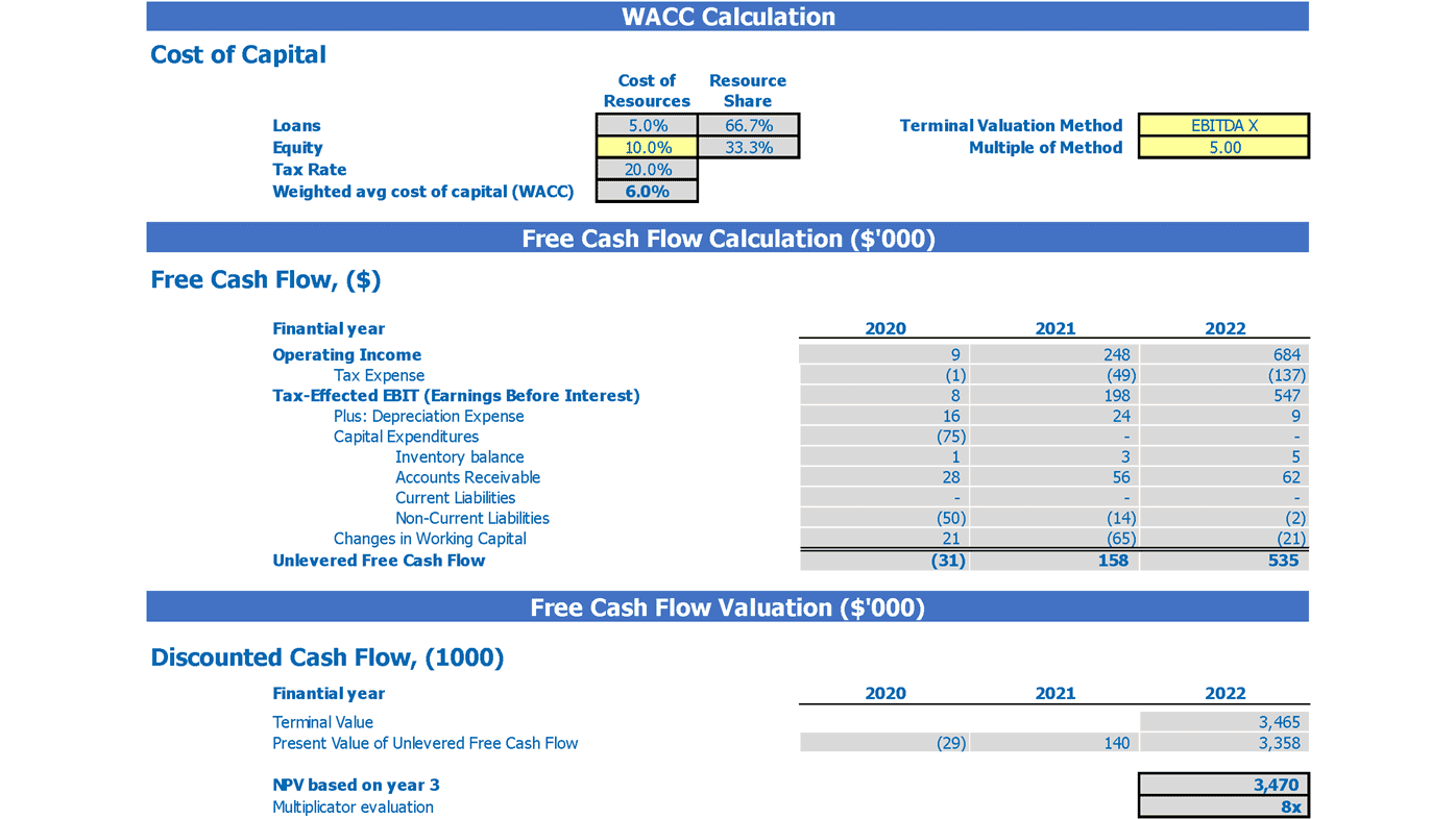 Business to Consumer E commerce Financial Plan 2 Way Valuation Calculations