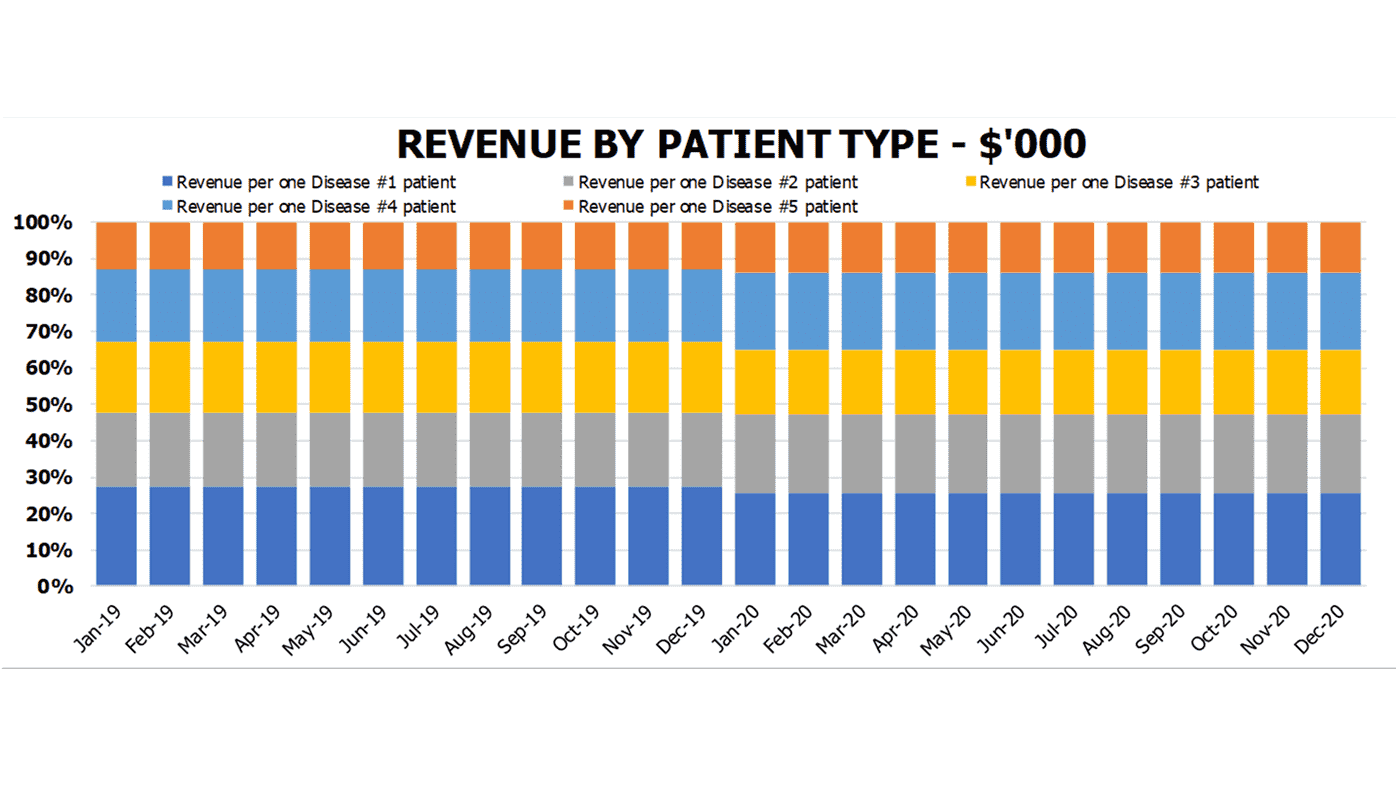 Clinic Financial Model Revenue by Patient Charts