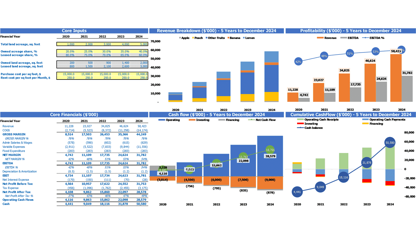 Fruit Farming Financial Model Dashboard