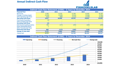 Annual Indirect Method Cash Flow - Templarket -  Business Templates Marketplace