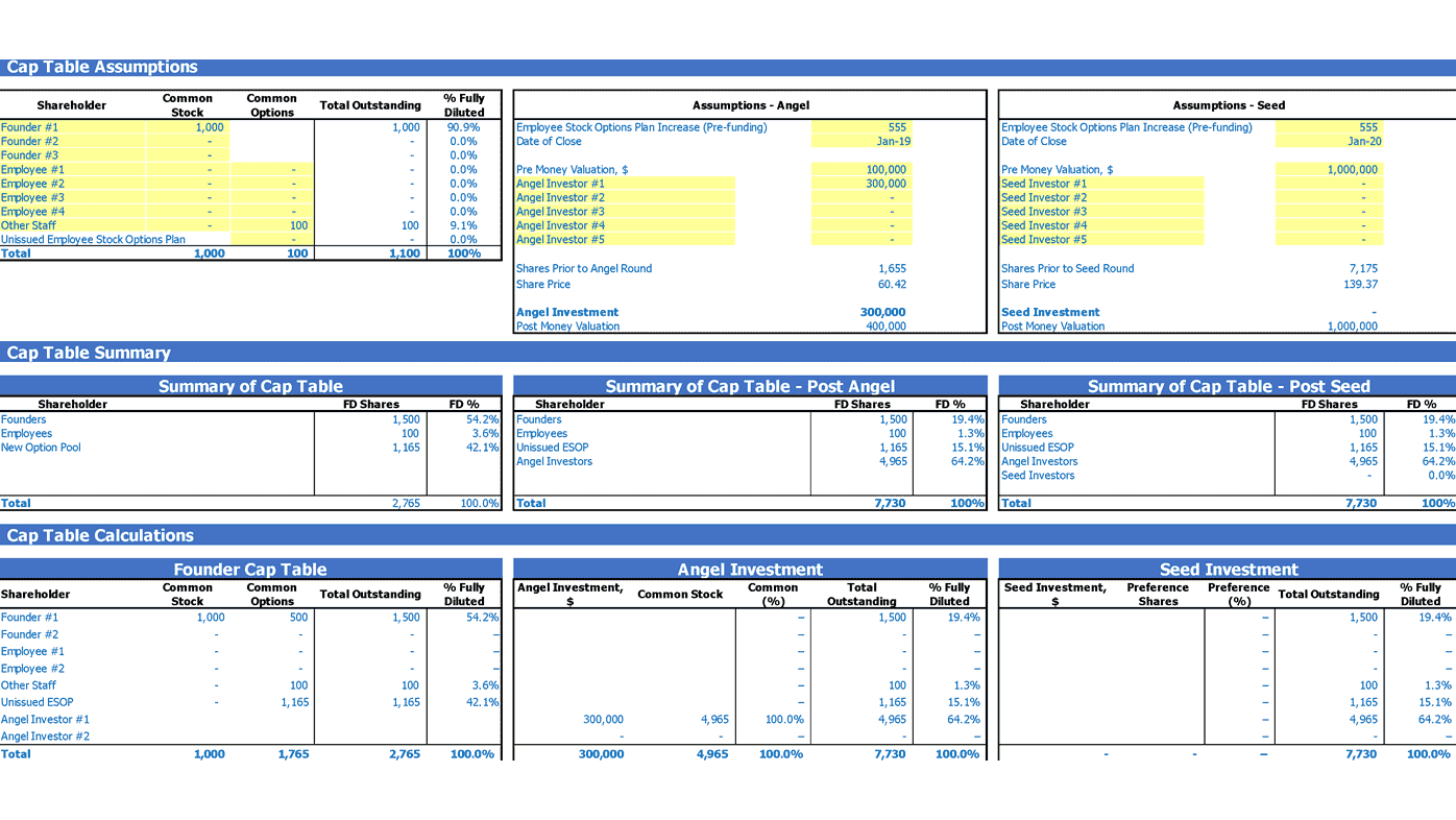 Online Classes SaaS Financial Projection Capitalization Table Inputs