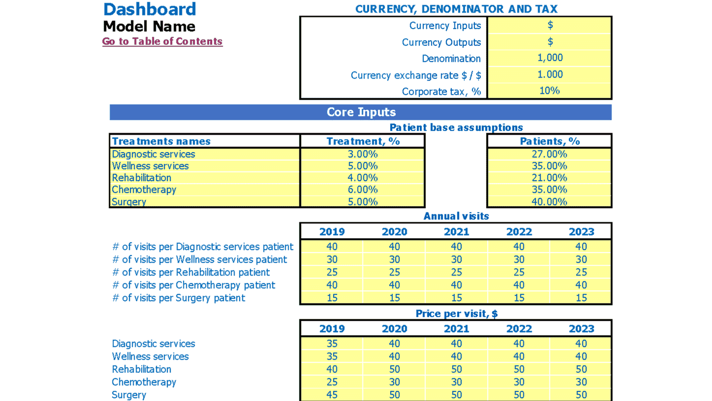Outpatient Clinic Business Plan Dashboard Core Inputs