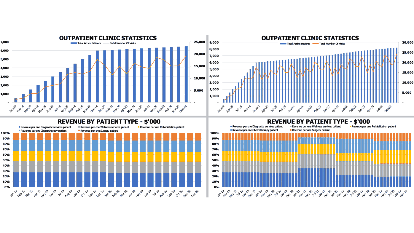 Outpatient Clinic Financial Projection Statistics and Revenue by Patient Charts