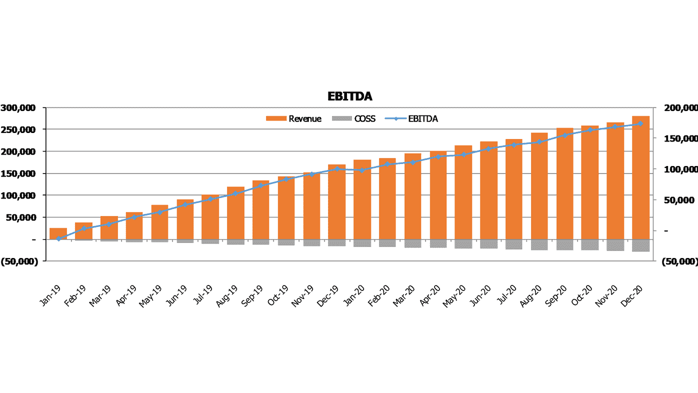 Pre Made Meal Services SaaS Financial Model EBITDA Chart