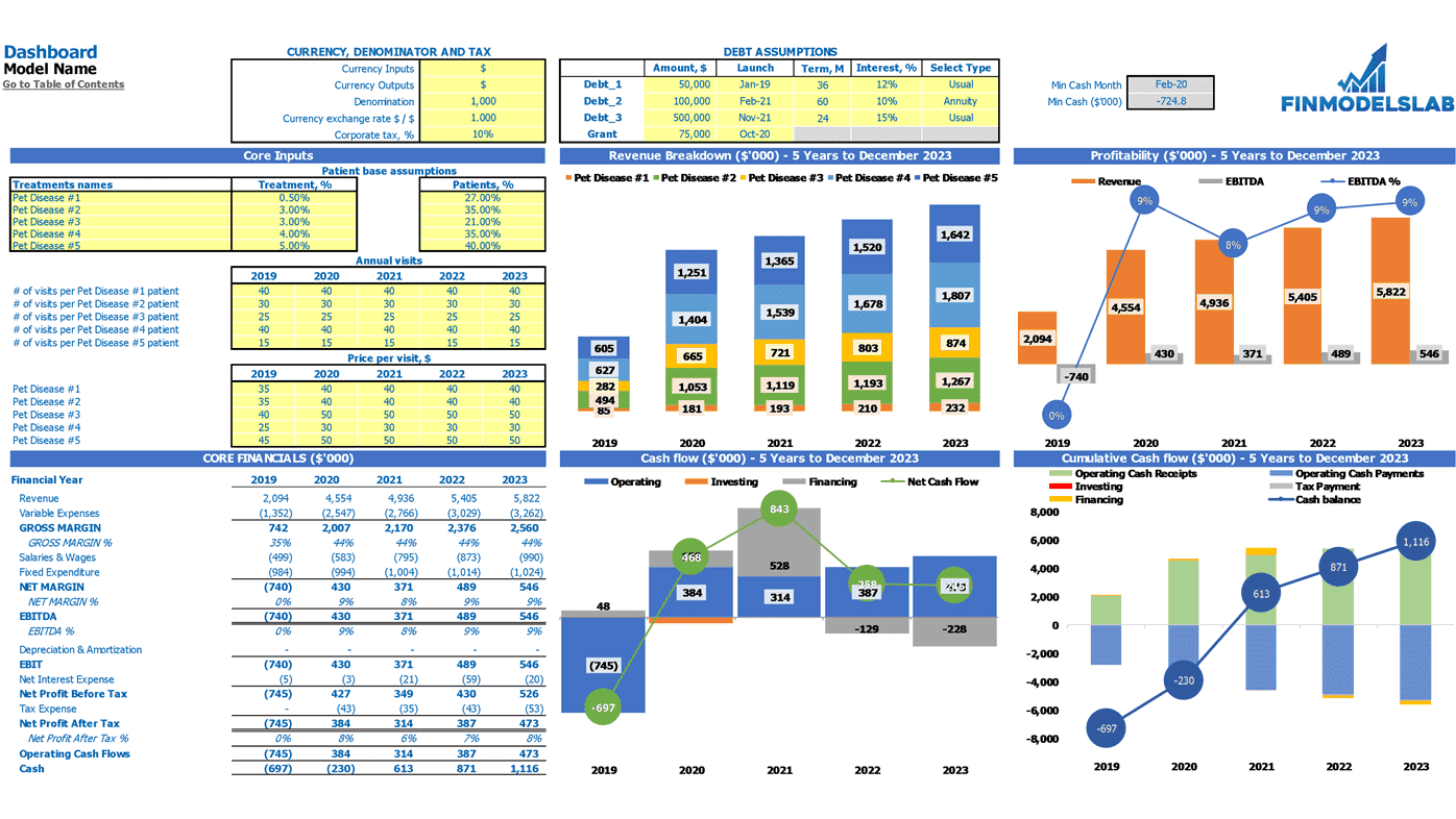 Veterinary Clinic Financial Model DashBoard
