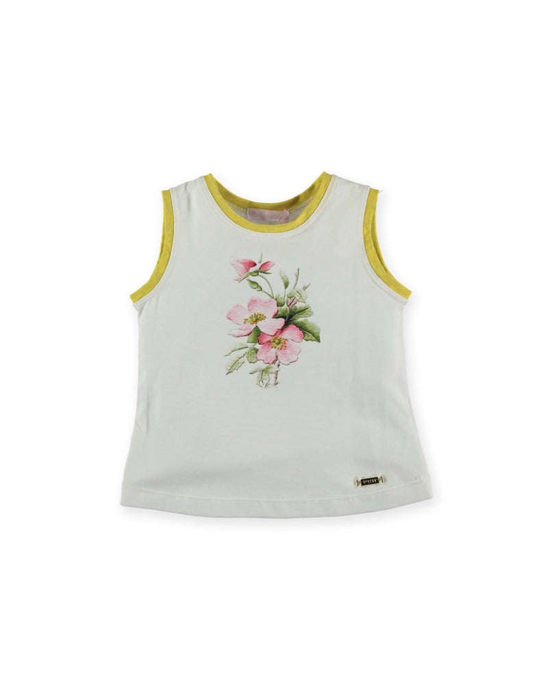 T-SHIRT FLORES SILVESTRES SIN MANGA BLANCO PAN CON CHOCOLATE