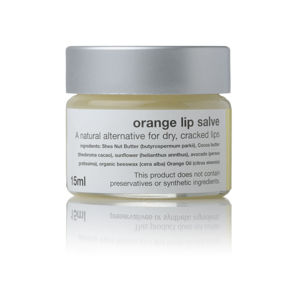 orange lip salve in 15ml jar