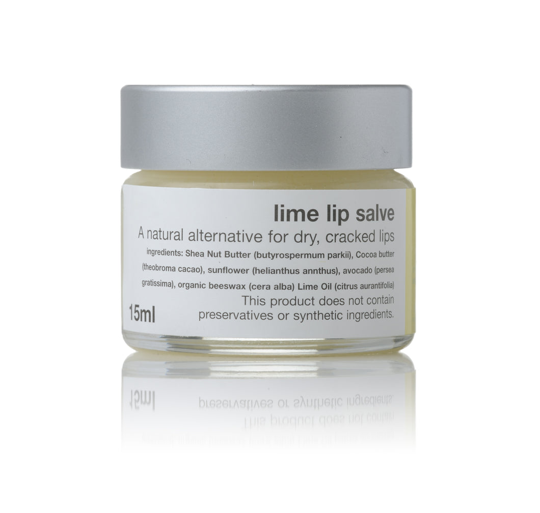 lime lip salve in 15ml jar
