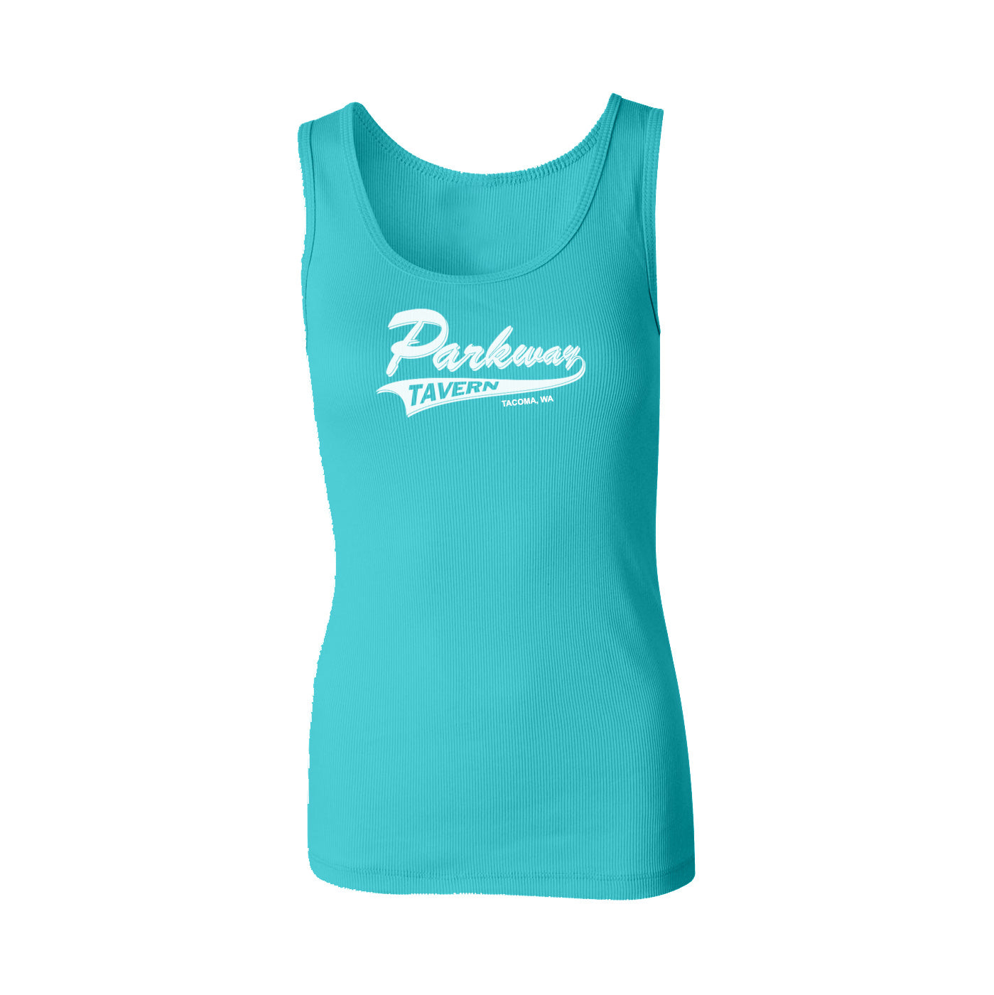 """Team Logo"" Ribbed Tank - Light Blue"