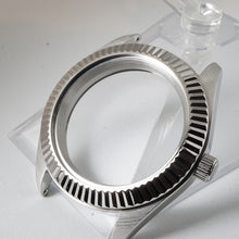 Load image into Gallery viewer, FCS391 Polished 3 o'clock Case with Fluted Silver Bezel