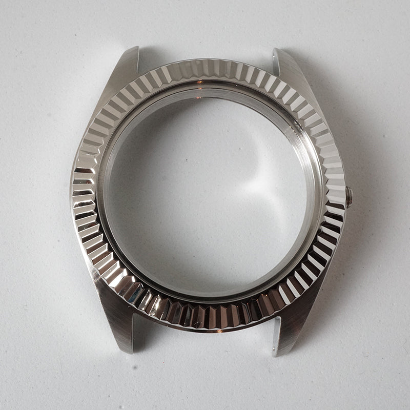 FCS391 Polished 3 o'clock Case with Fluted Silver Bezel