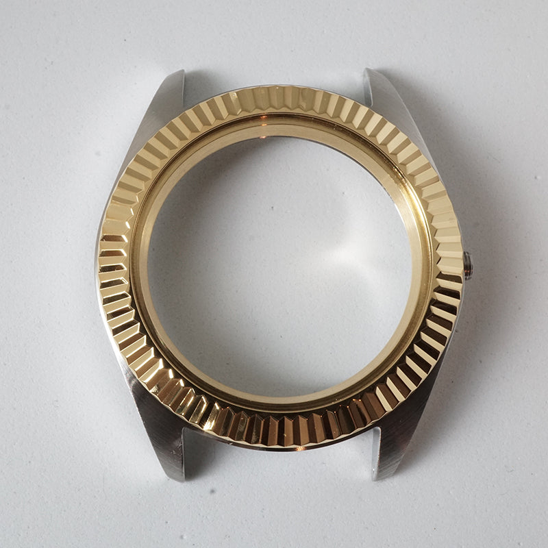 FCG391 Polished 3 o'clock Case with Gold Fluted Bezel