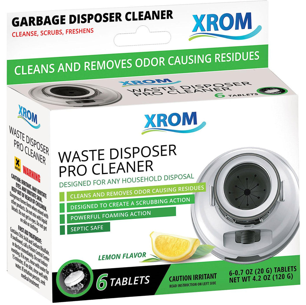 XROM Waste Disposal Cleaner and Deodorizer With Powerful Foaming Action, 6 Tablets - xrominc