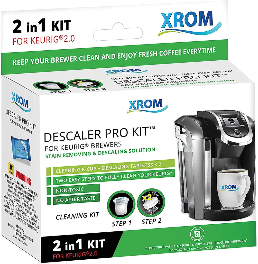 XROM Professional Descaling Kit 2 in 1 Compatible With All K-Cup Keurig 2.0 Brewers - xrominc