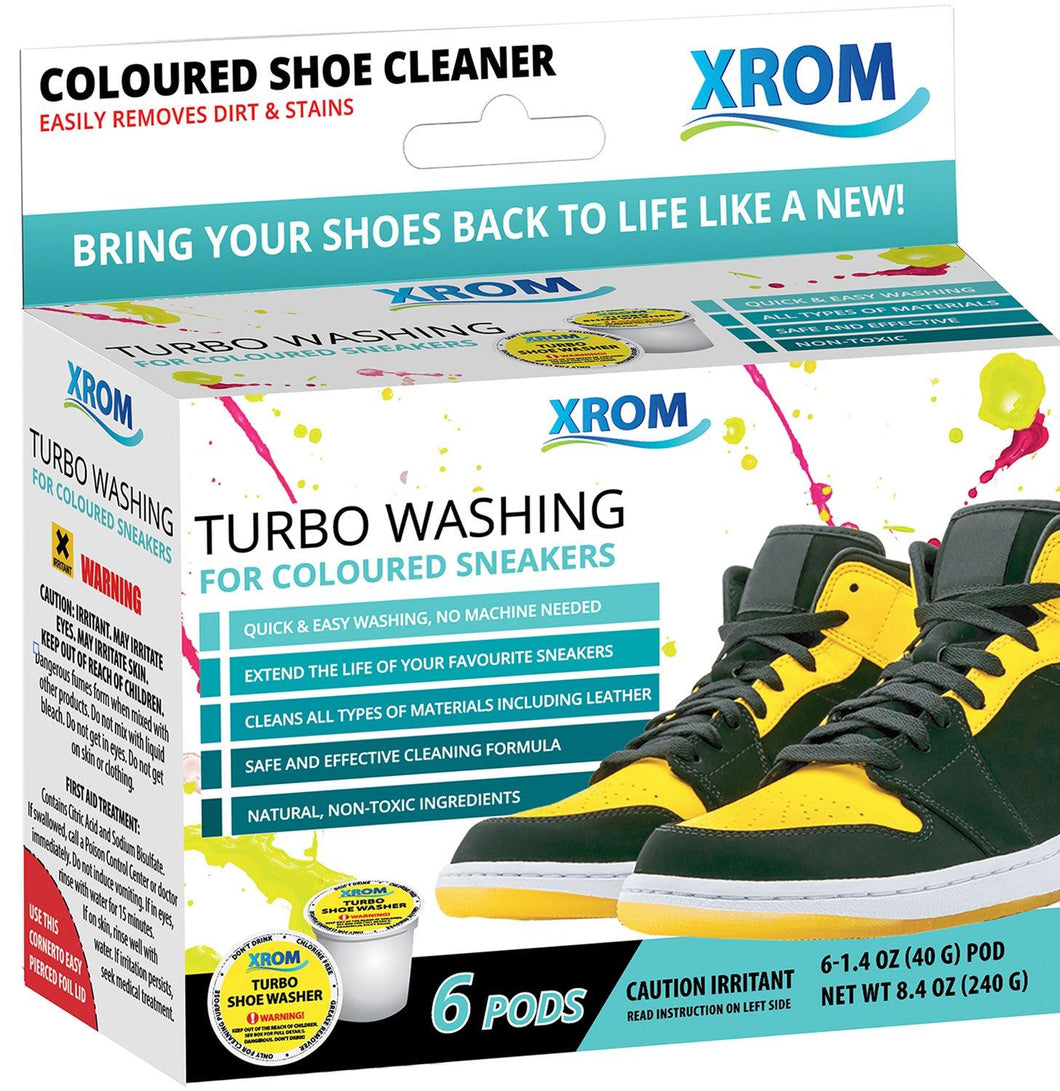 XROM Turbo Washing For Coloured Sneakers, Remove Dirt and Stains, 6 uses - xrominc