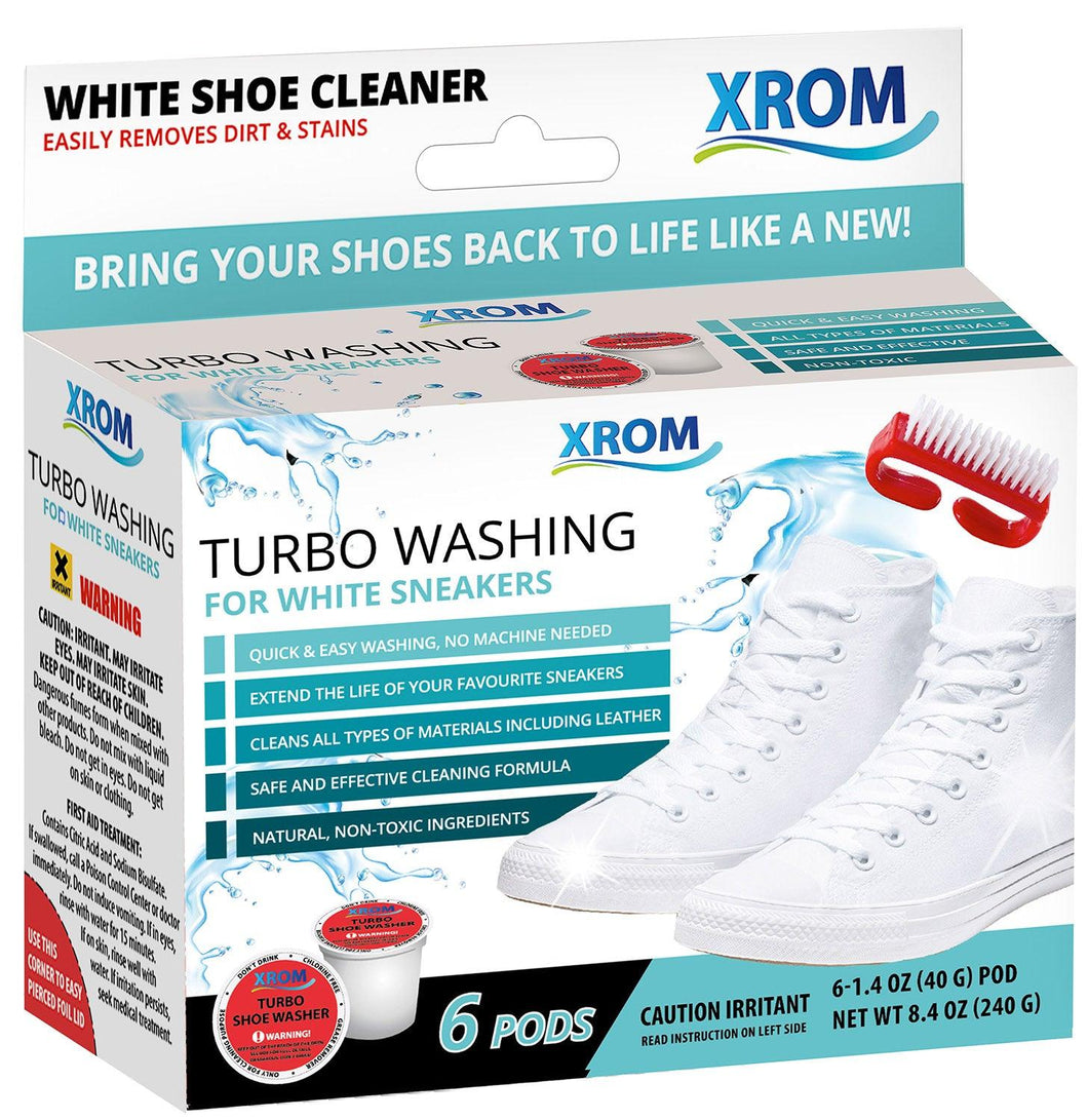 XROM Turbo Washing For White Sneakers, Remove Dirt and Stains, 6 uses - xrominc