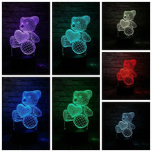 Load image into Gallery viewer, Lamp Baby Teddy Bear Hold Love Heart Balloon 3D USB LED Lamp Table Night Light Home Room Decor Kids Toy Christmas Gift Beside