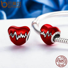 Load image into Gallery viewer, BAMOER 925 Sterling Silver Love Heart ECG & Red Enamel Beads fit Charm Bracelets SCC249