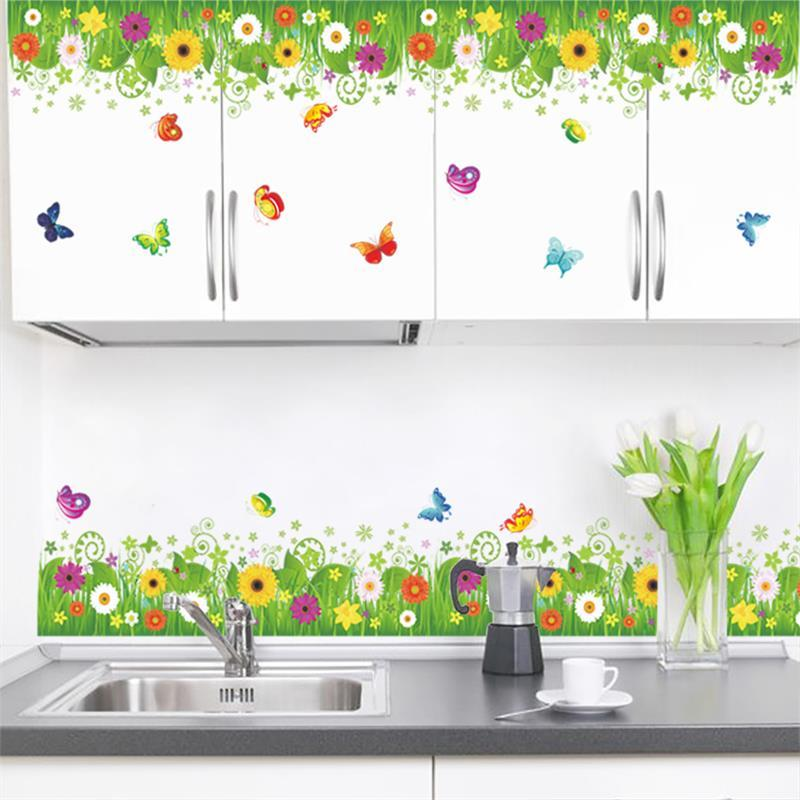 Sunflower Kitchen Removable skirting board flooring angular line 049. Wall Sticker Window Home Decor Decal Mural Art