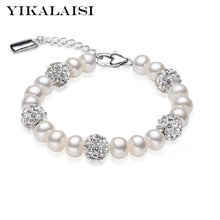 Load image into Gallery viewer, YIKALAISI Charm Bracelet Natural Freshwater Pearl 925 Sterling Silver