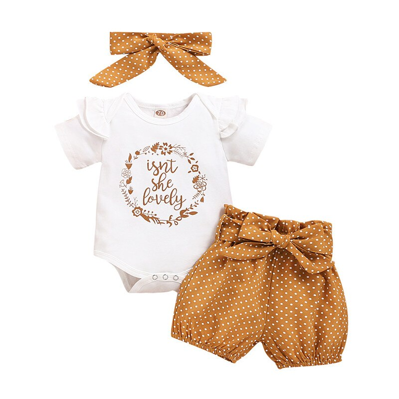 Summer Baby Girl Clothes Newborn Girls Letter Print Romper Bodysuit+Dot Pants+headband Outfits 3-18 Months Clothing
