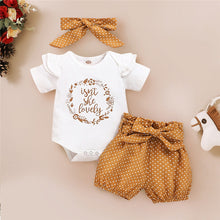 Load image into Gallery viewer, Summer Baby Girl Clothes Newborn Girls Letter Print Romper Bodysuit+Dot Pants+headband Outfits 3-18 Months Clothing
