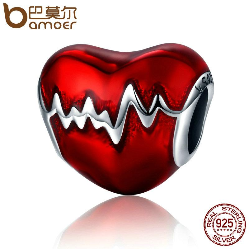 BAMOER 925 Sterling Silver Love Heart ECG & Red Enamel Beads fit Charm Bracelets SCC249