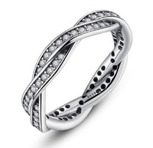 Load image into Gallery viewer, BAMOER 925 Sterling Silver BRAIDED PAVE SILVER RING with Clear CZ Fate Stackable Twisted PA7116