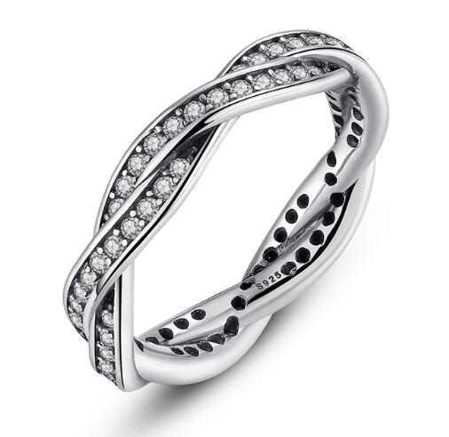 BAMOER 925 Sterling Silver BRAIDED PAVE SILVER RING with Clear CZ Fate Stackable Twisted PA7116