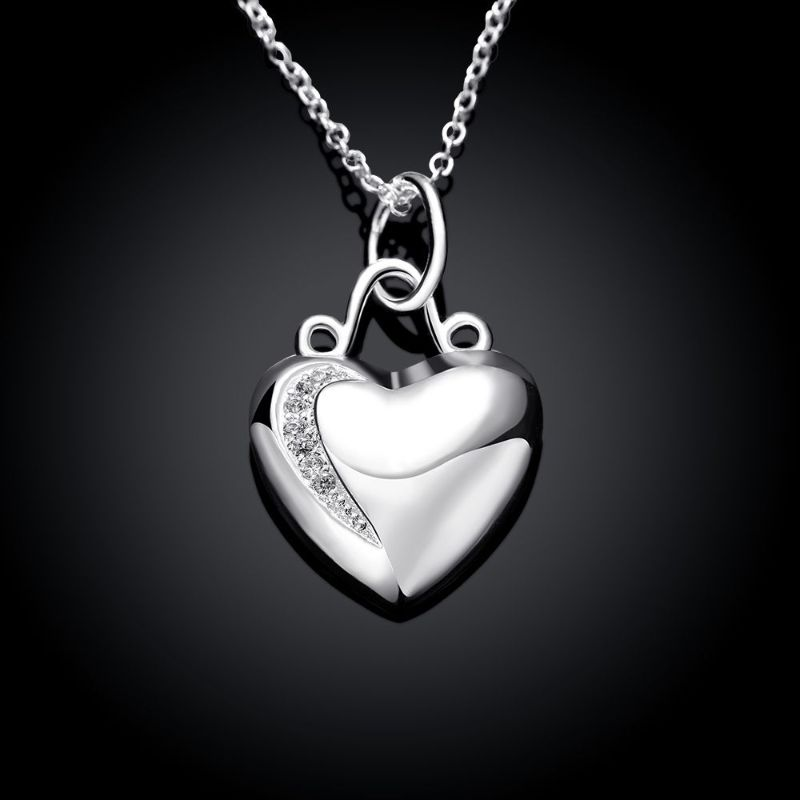 Double Heart Necklace in 18K White Gold Filled Made with Swarovski Crystals