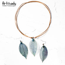 Load image into Gallery viewer, Artilady real leaf pendant necklace earring set