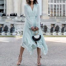Load image into Gallery viewer, Long sleeve chiffon women dress Mint Green