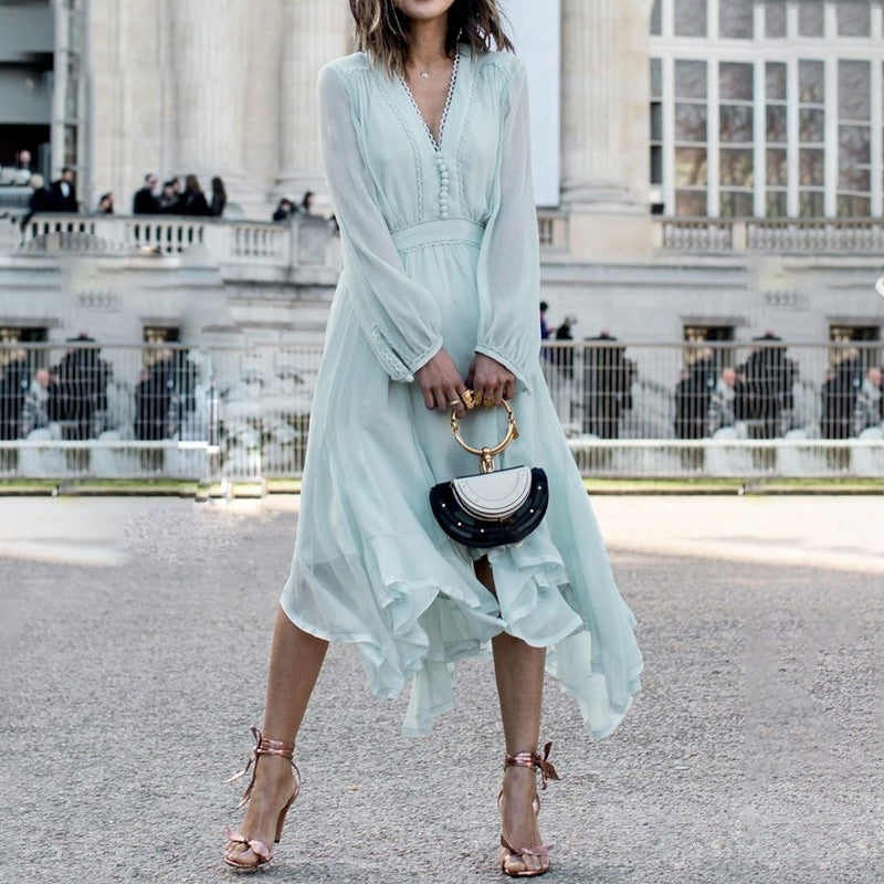 Long sleeve chiffon women dress Mint Green