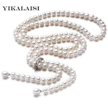 Load image into Gallery viewer, High Natural freshwater Pearl Long Necklace 8-9 mm 925 Sterling silver Jewelry
