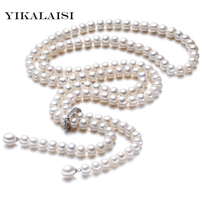 High Natural freshwater Pearl Long Necklace 8-9 mm 925 Sterling silver Jewelry