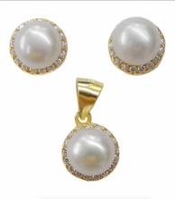 Load image into Gallery viewer, Set of 7mm Freshwater Pearls Sterling Silver Earrings and Pendant