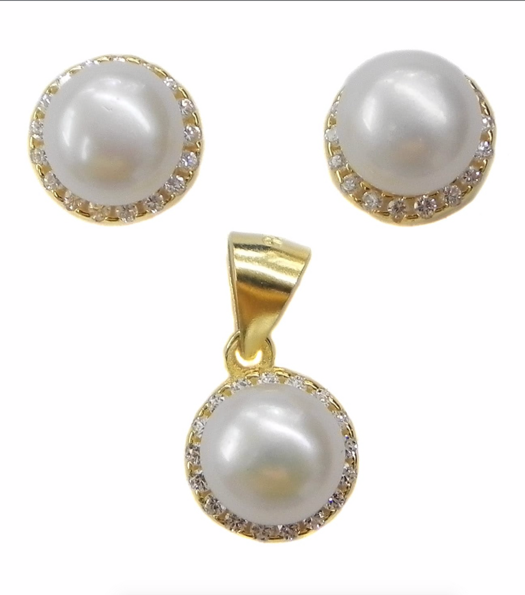 Set of 7mm Freshwater Pearls Sterling Silver Earrings and Pendant