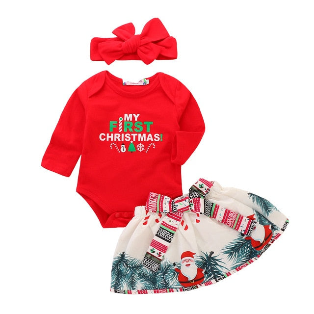My First Christmas Girl Clothes Baby Girl Clothes Set 3Pcs Pure Red Tops Bodysuit+Bow Skirt+Headband Baby Christmas