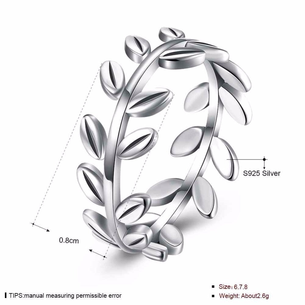 Solid 925 Sterling Silver Ring Leaves Shape OL Accessories Jewelry Rings